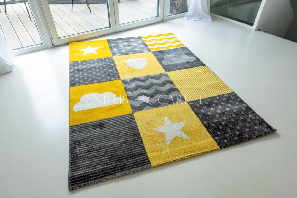 Gyerek szőnyeg 0761 Yellow (sárga) csillagos mintás 130x190cm