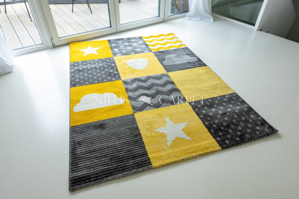 Gyerek szőnyeg 0761 Yellow (sárga) csillagos mintás 160x220cm