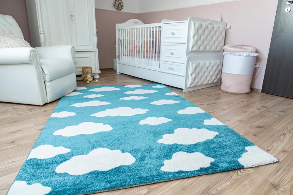 Gyerek szőnyeg 1002 blue (kék) felhő mintás 130x190cm