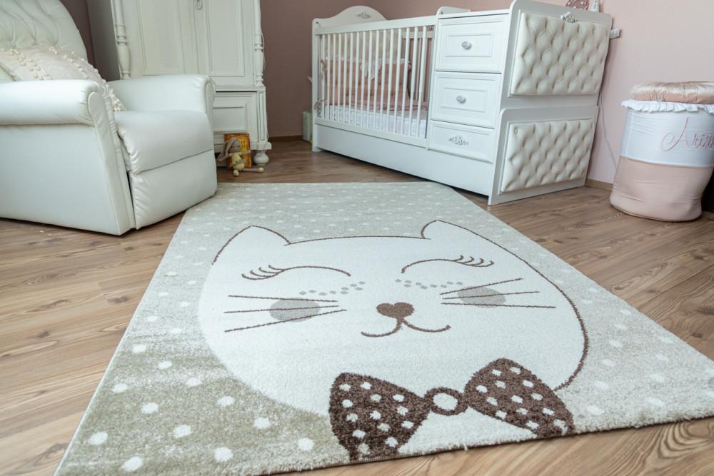 Gyerek szőnyeg 1004 beige (bézs) cica mintás 160x220cm