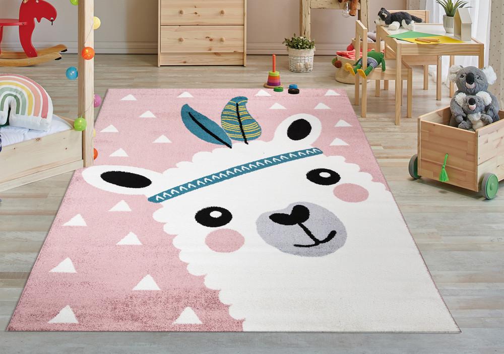 Gyerek szőnyeg 1005 pink (rózsaszín) láma minta 130x190cm
