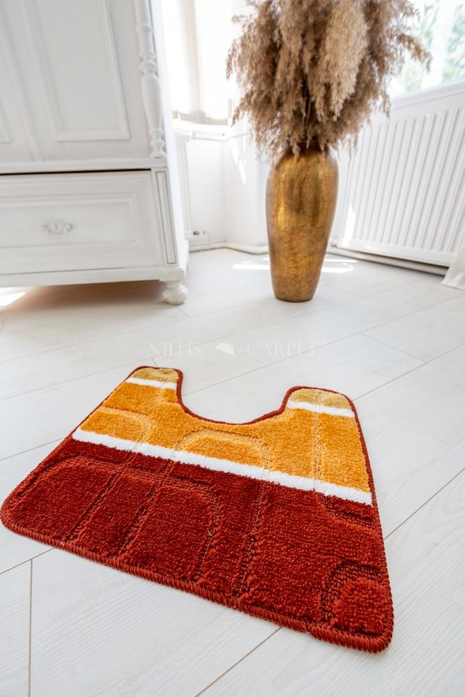 Fürdőszoba szőnyeg fél részes narancs kockás