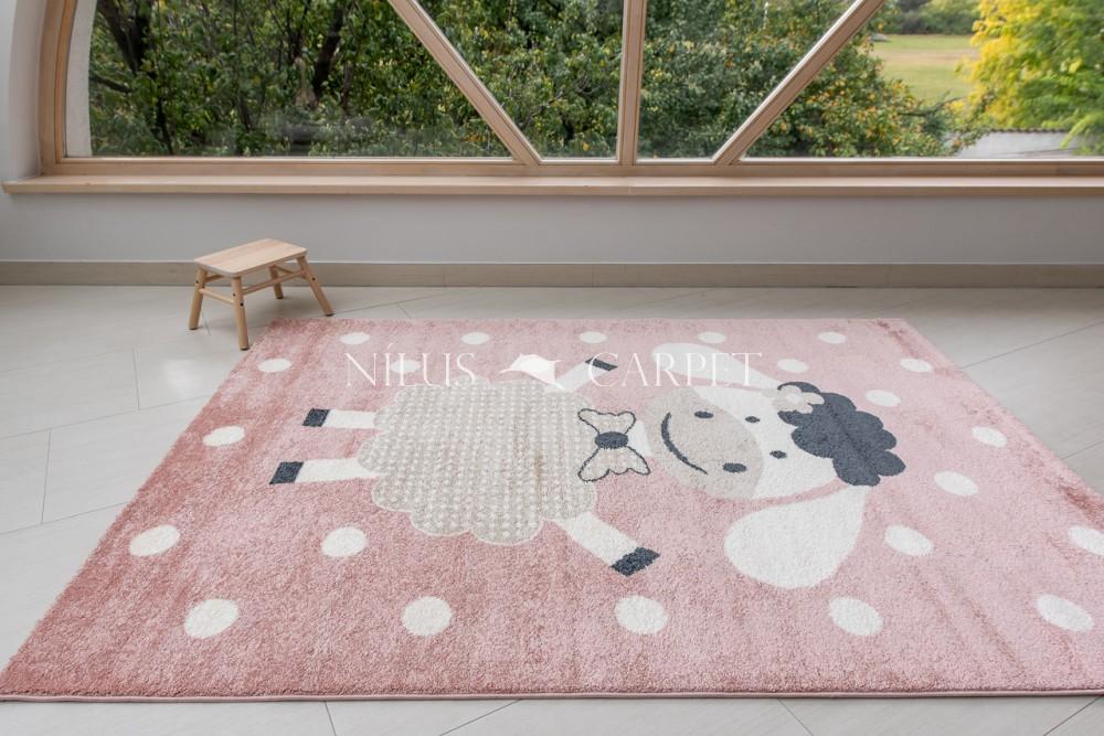 Gyerek szőnyeg bárány mintás pink (rózsaszín) 200x290cm