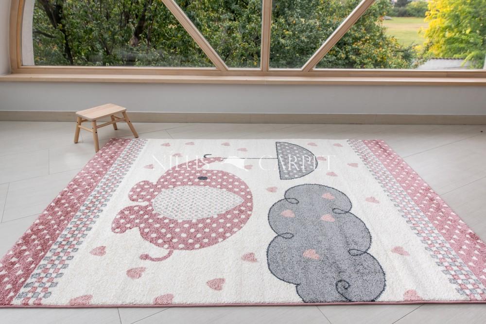 Gyerek szőnyeg elefánt mintás pink (rózsaszín) 160x230cm