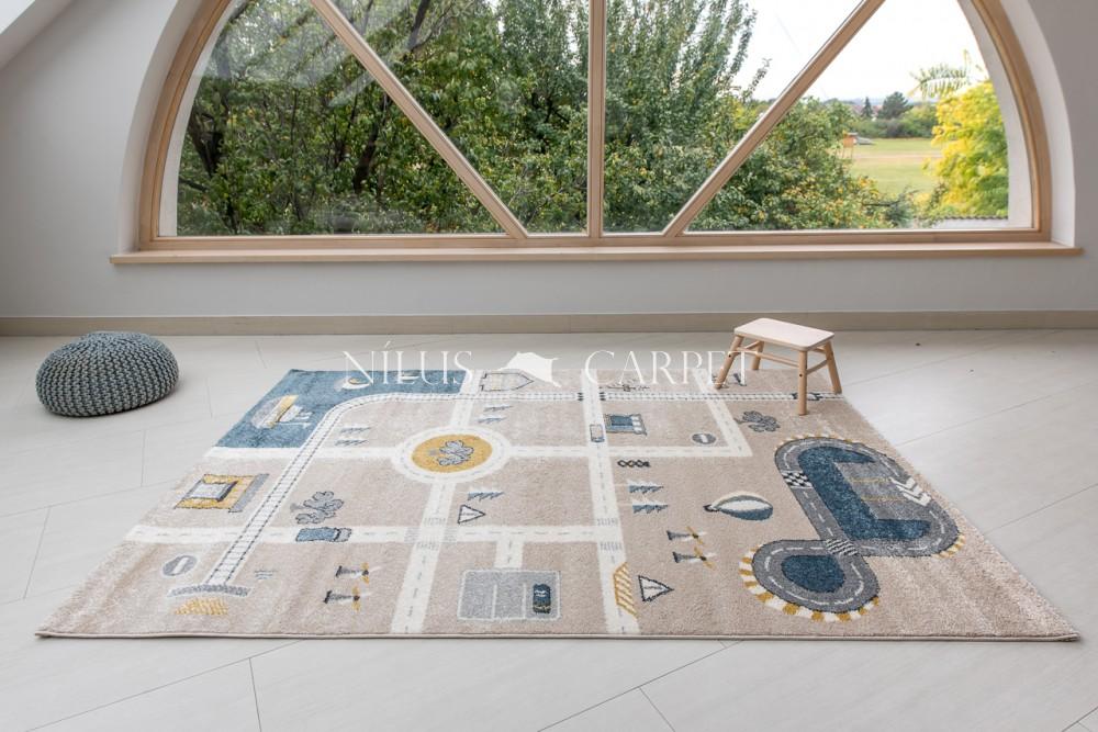 Gyerek szőnyeg autópálya mintás beige (bézs) 200x290cm