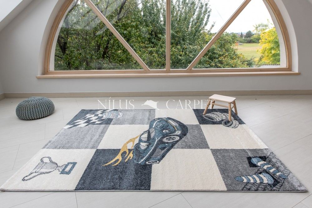 Gyerek szőnyeg versenyautó mintás gray (szürke) 160x230cm