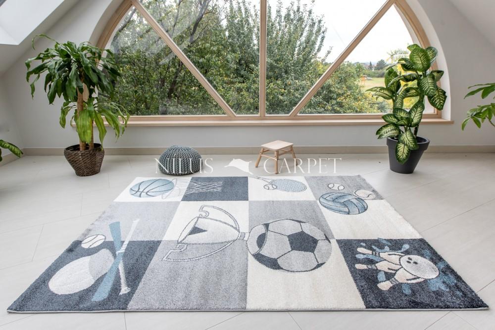 Gyerek szőnyeg kosárlabda mintás gray (szürke) 100x150cm
