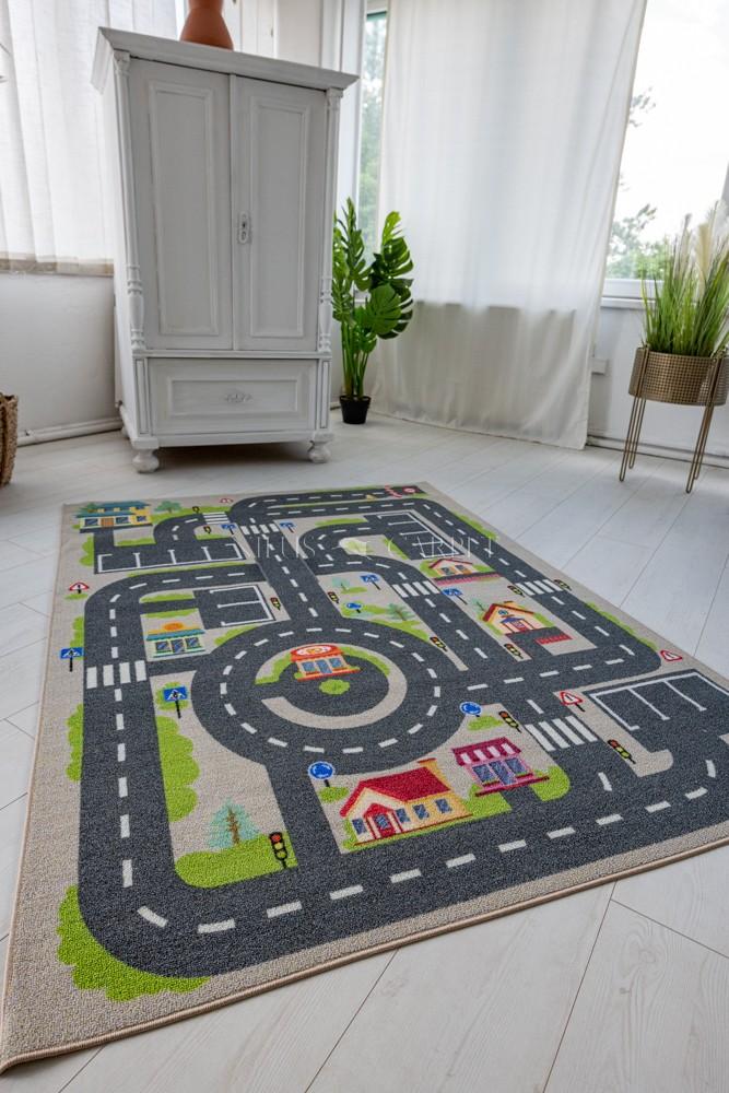 Gyerek szőnyeg bézs autópályás 130x180cm