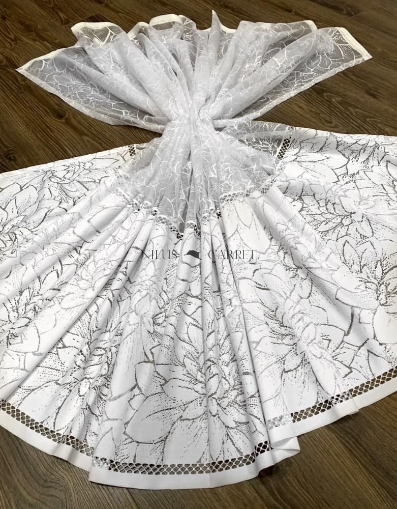 Kész függöny fehér alapon márvány fehér levél 300x150cm