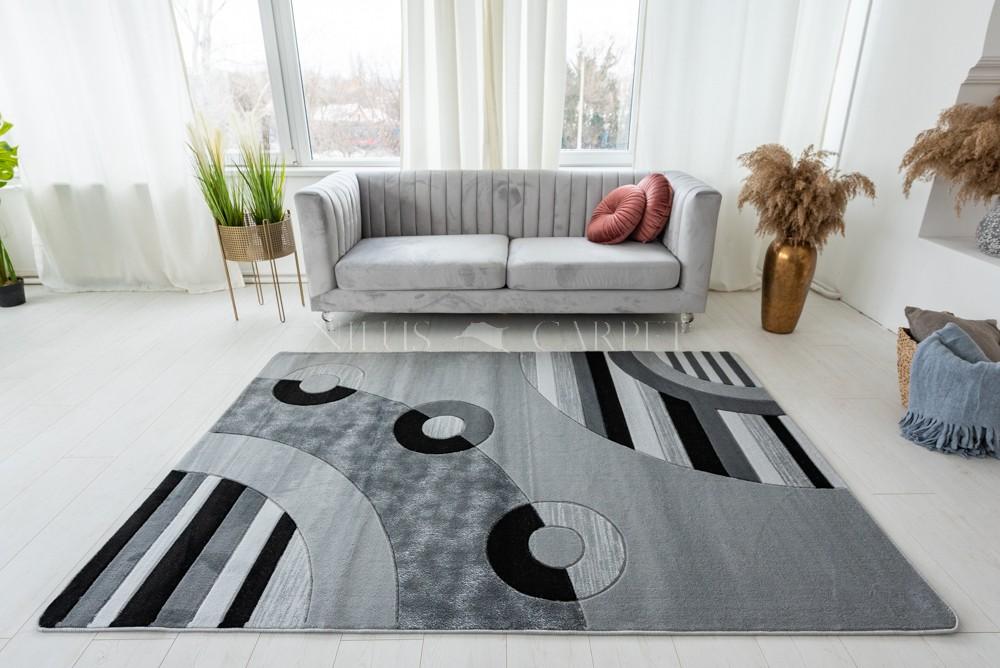 Lothus gray (szürke) modern keretes szőnyeg 60x100cm