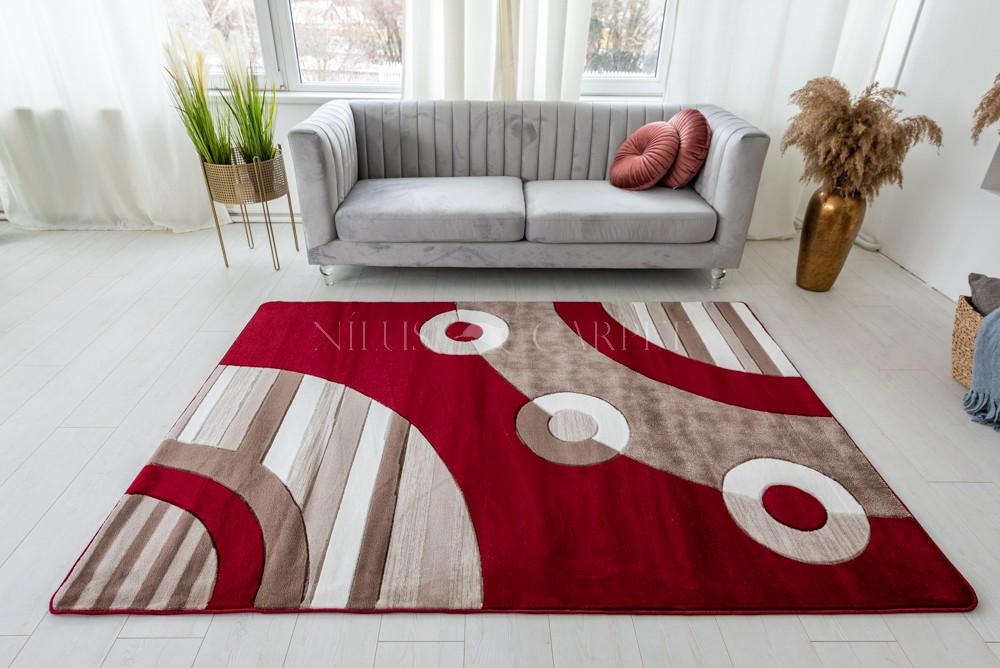 Lothus beige red (bordó-bézs ) modern keretes szőnyeg 200x280cm