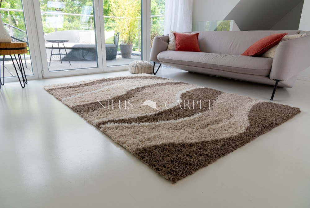 Manhattan Shaggy 474 beige-brown (bézs-barna) szőnyeg 60x110cm