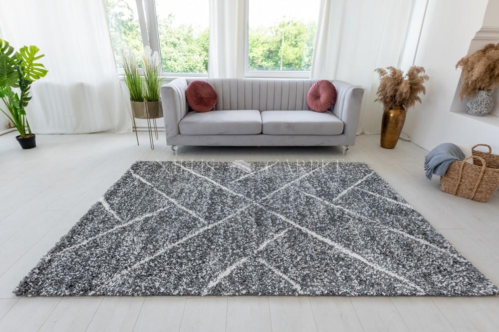 Berber Luxury 307 cream-antracit (krém-szürke) szőnyeg 60x200cm