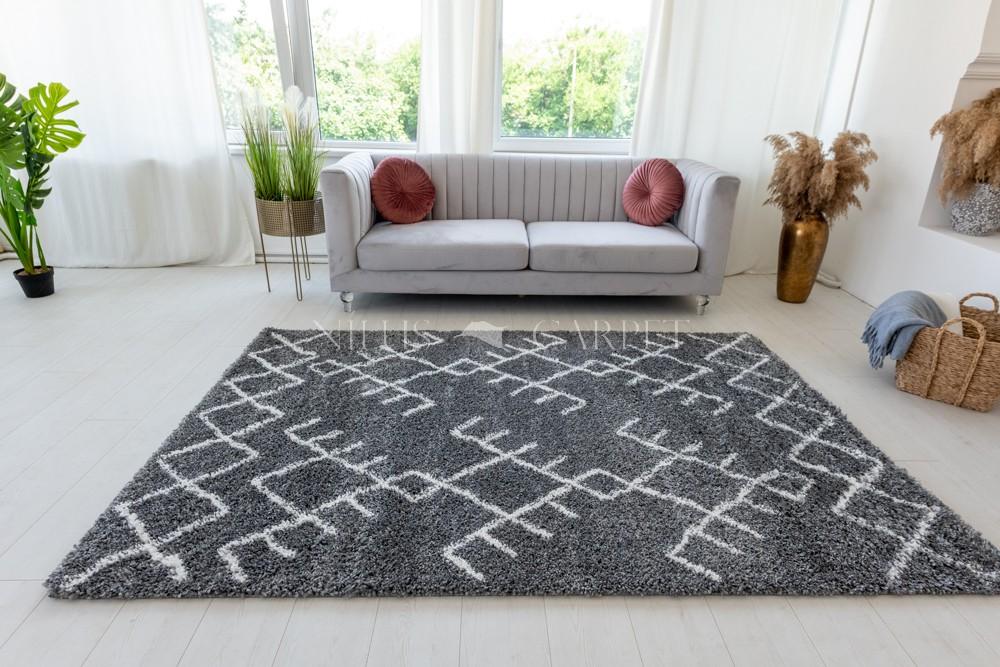 Berber Luxury 415 cream-antracit (krém-szürke) szőnyeg 60x200cm