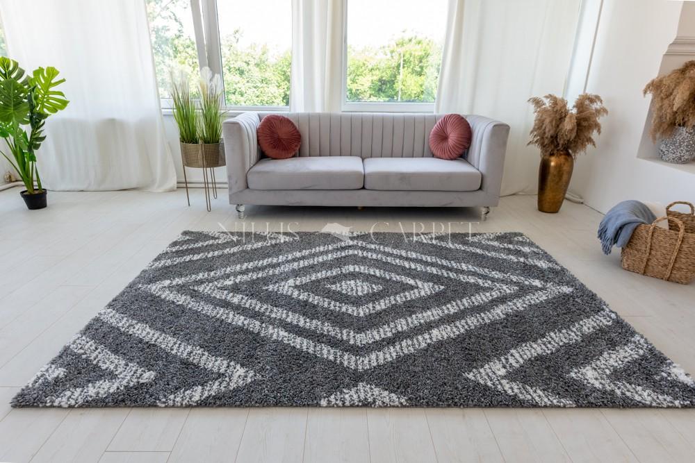 Berber Luxury 487 cream-antracit (krém-szürke) szőnyeg 60x200cm