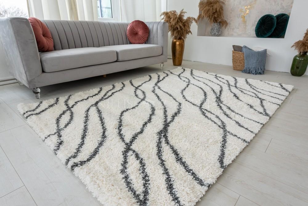 Berber Luxury 7184 antracit-cream (szürke-krém) szőnyeg 80x250cm