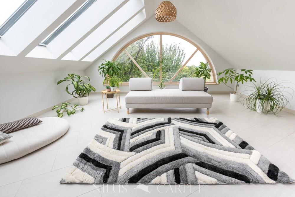 Puder Art 8837 gray white  (szürke) szőnyeg 200x290cm