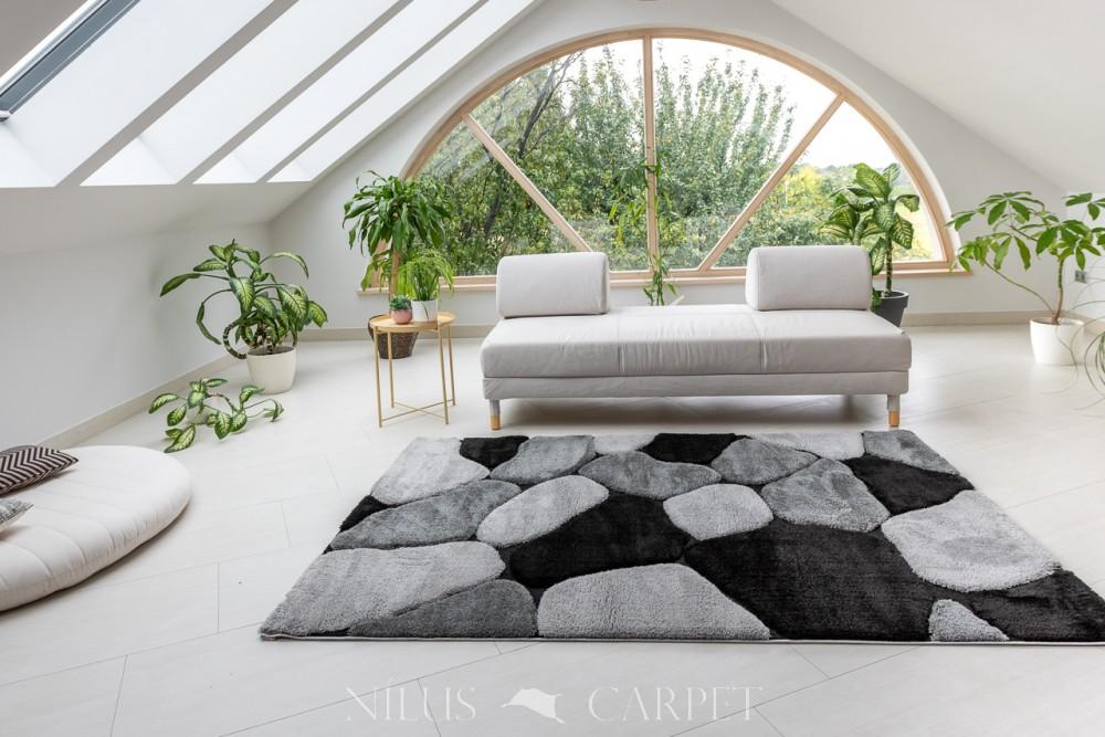 Puder Art 9373 gray white  (szürke fehér) szőnyeg 150x230cm