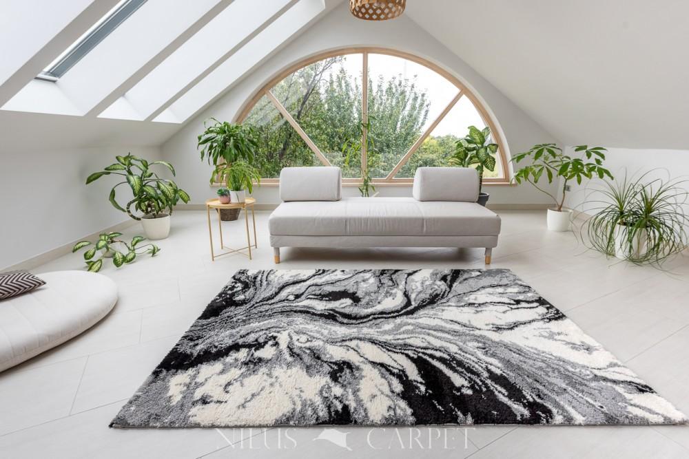 Puder Art 6839 gray white  (szürke) szőnyeg 200x290cm