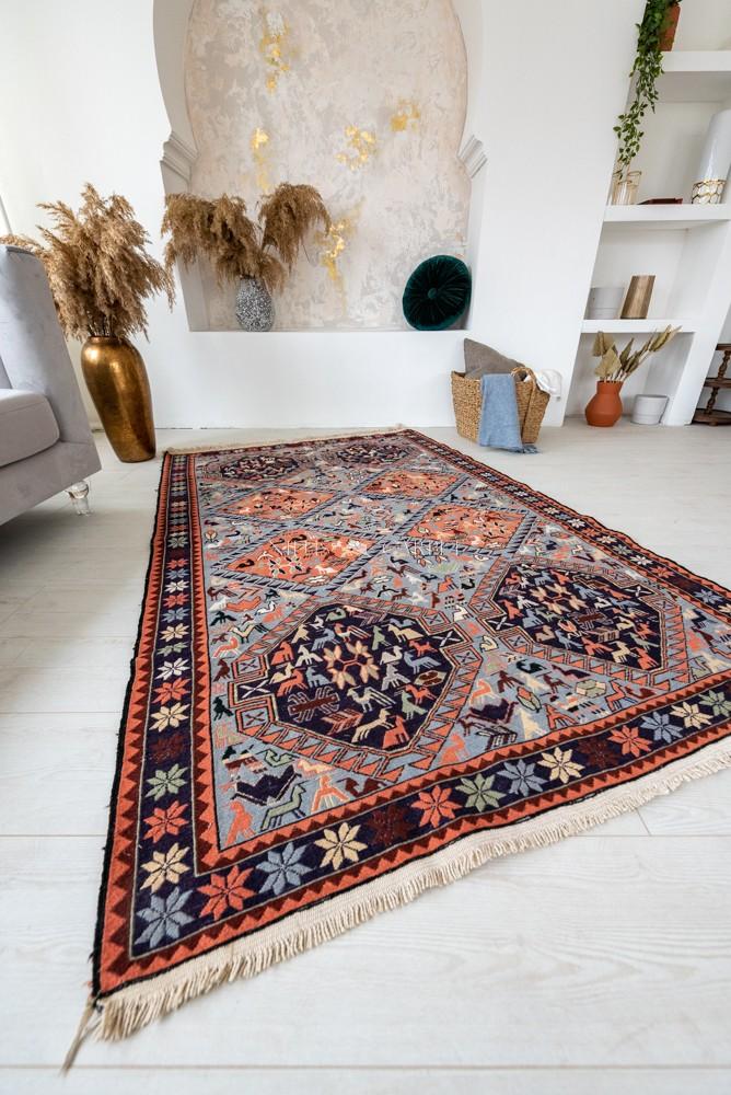Kézi csomózású perzsa killim Szumák szőnyeg kékes terra 196x128cm