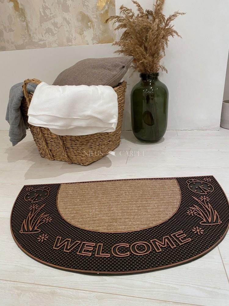 Welcome félkör bronz katicás virágos gumis lábtörlő 45x75cm