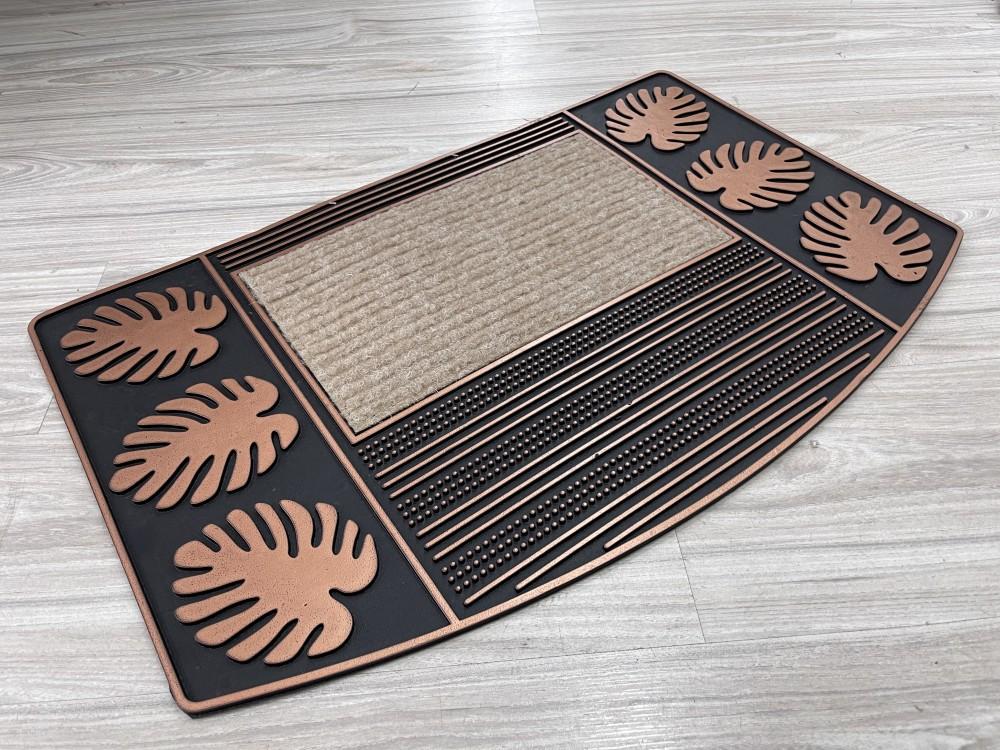 Modern Bronz pálma leveles  gumis lábtörlő 45x75cm