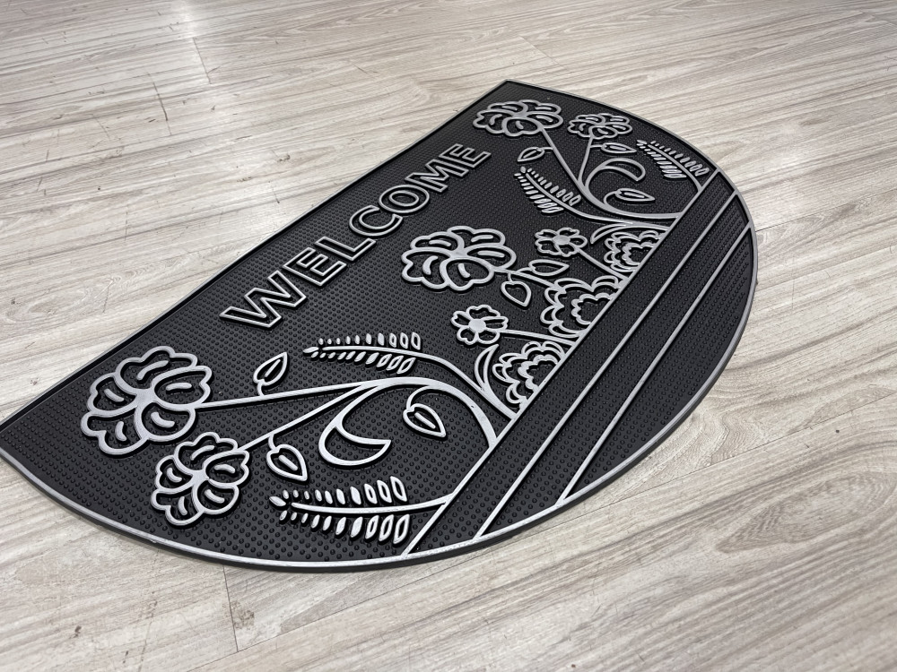 Welcome félkör Gray kalocsa mintás virágos gumis lábtörlő 45x75cm